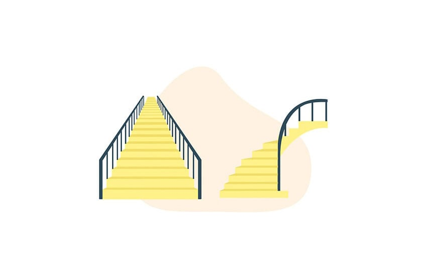 straight staircase versus curved staircase