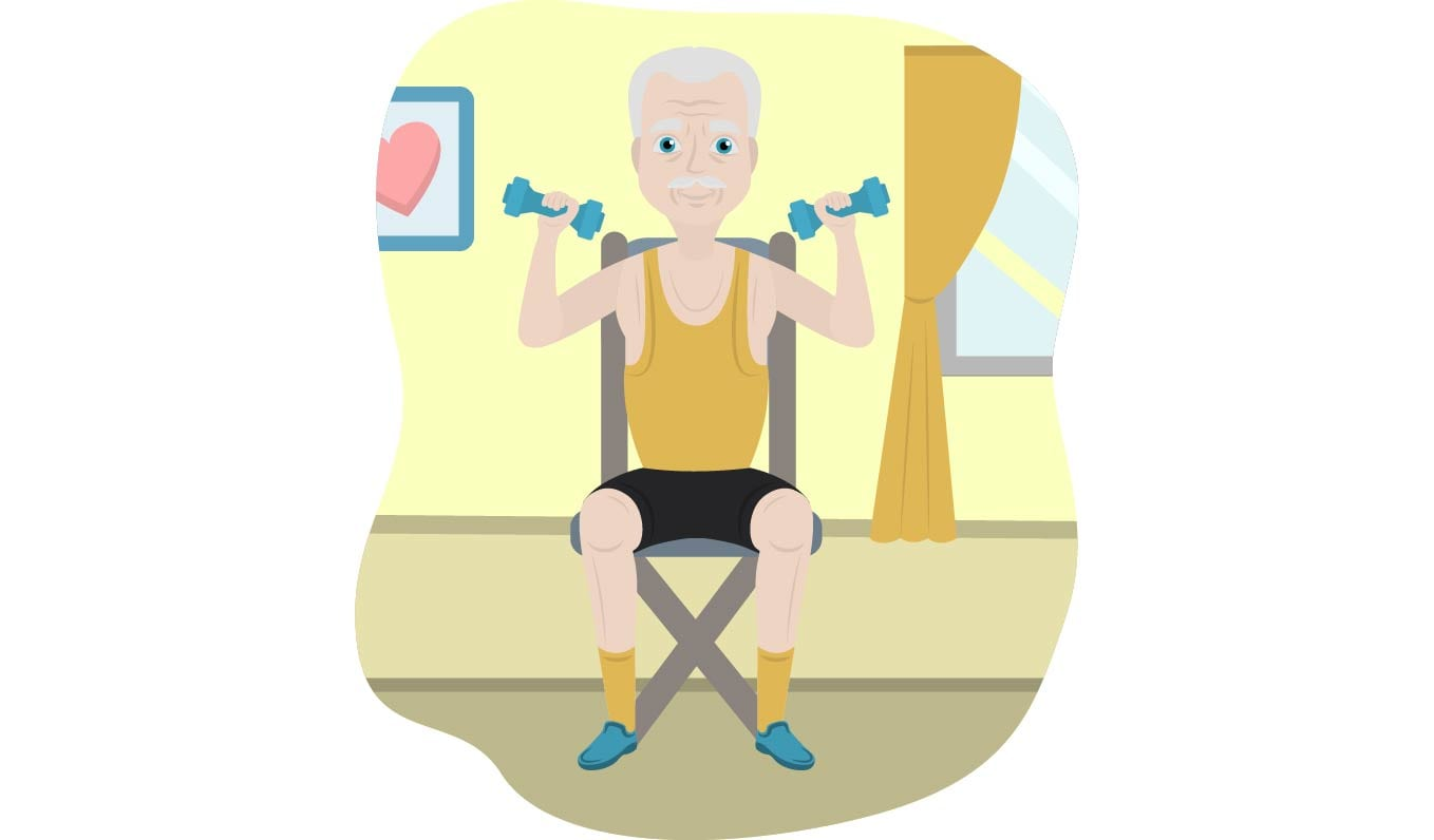 Male senior exercising with dumbbells on chair