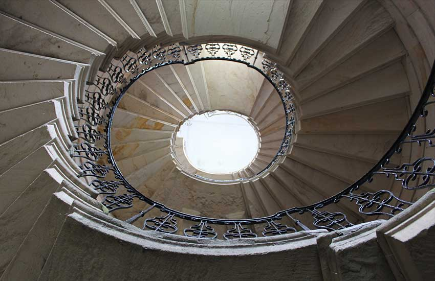Seaton Delaval Hall spiral staircase looking up