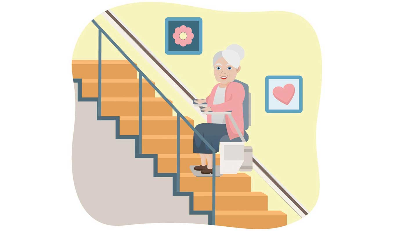 senior woman sitting on a stairlift on straight staircase