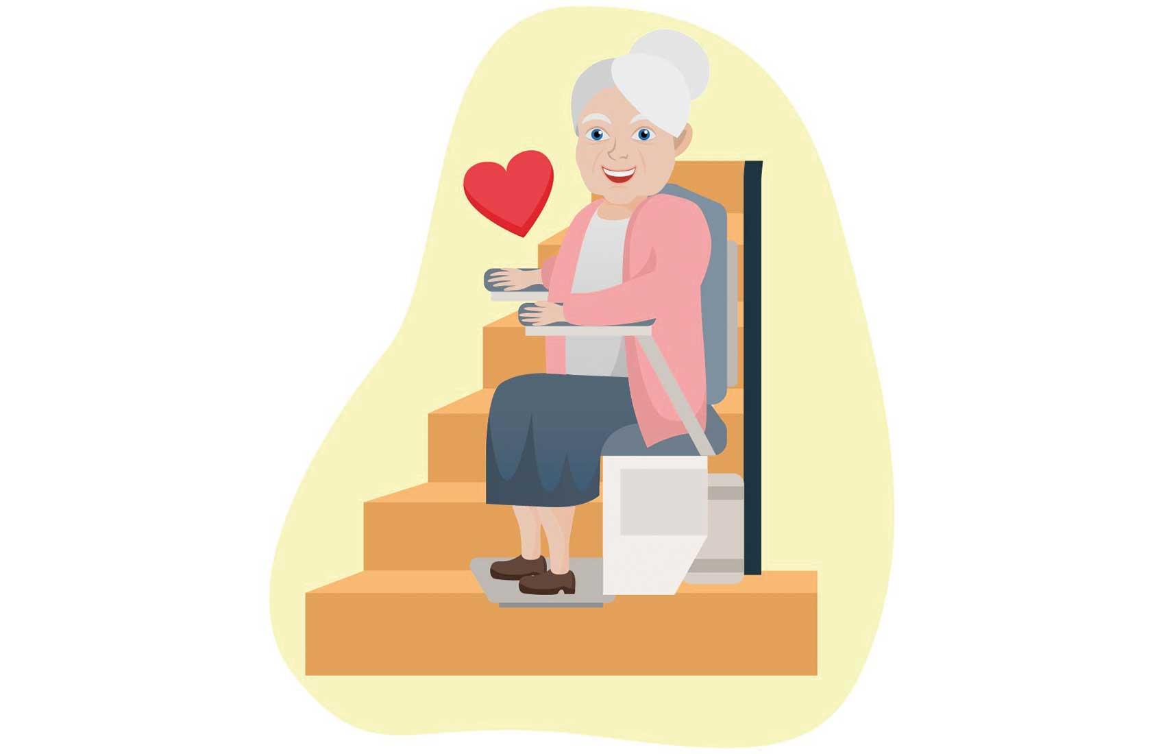 Senior woman sitting on a stairlift on a curved staircase