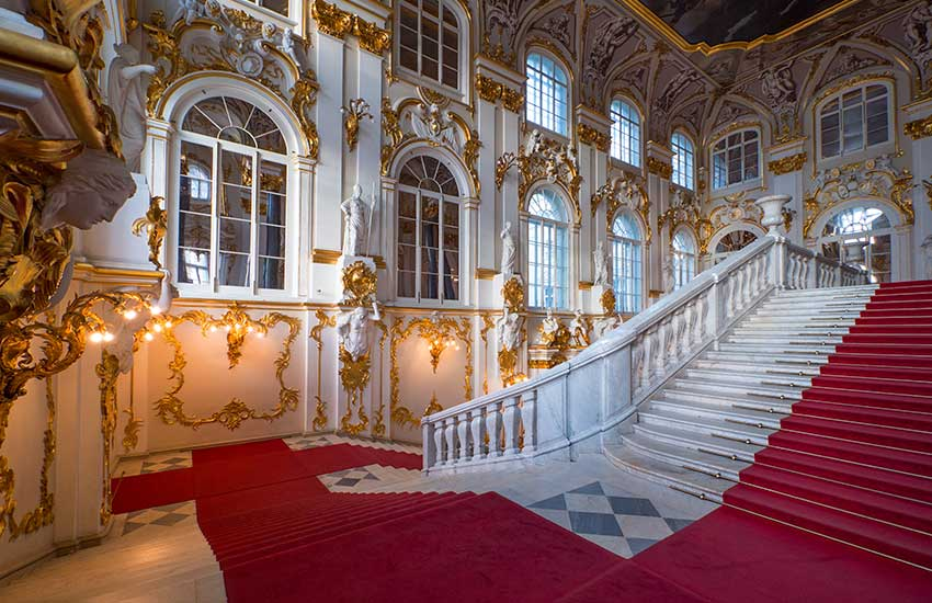 Winter palace staircase in Russia