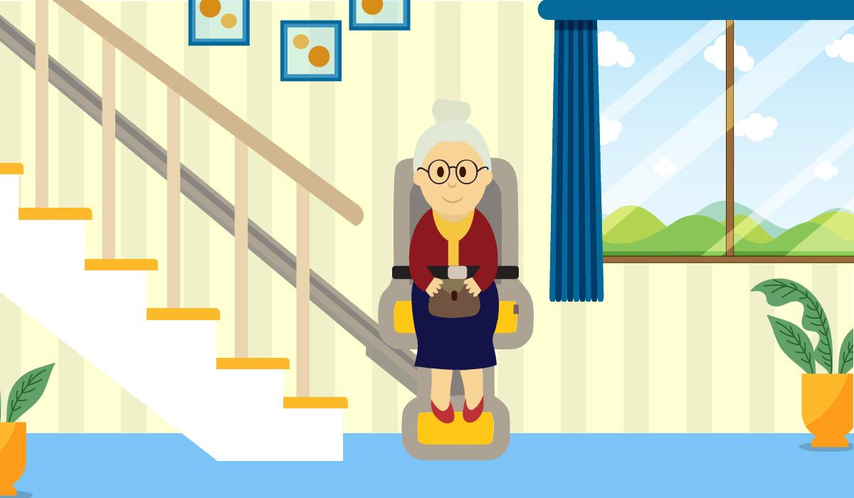 stairlift elderly woman