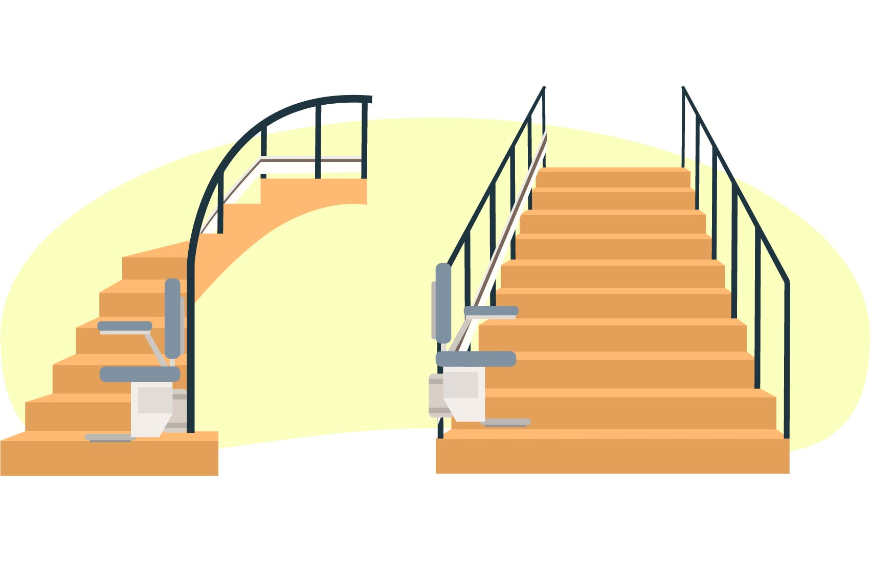 straight stairs vs curved stairs