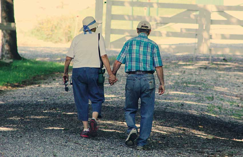 Elderly couple holding hands walking on a trail