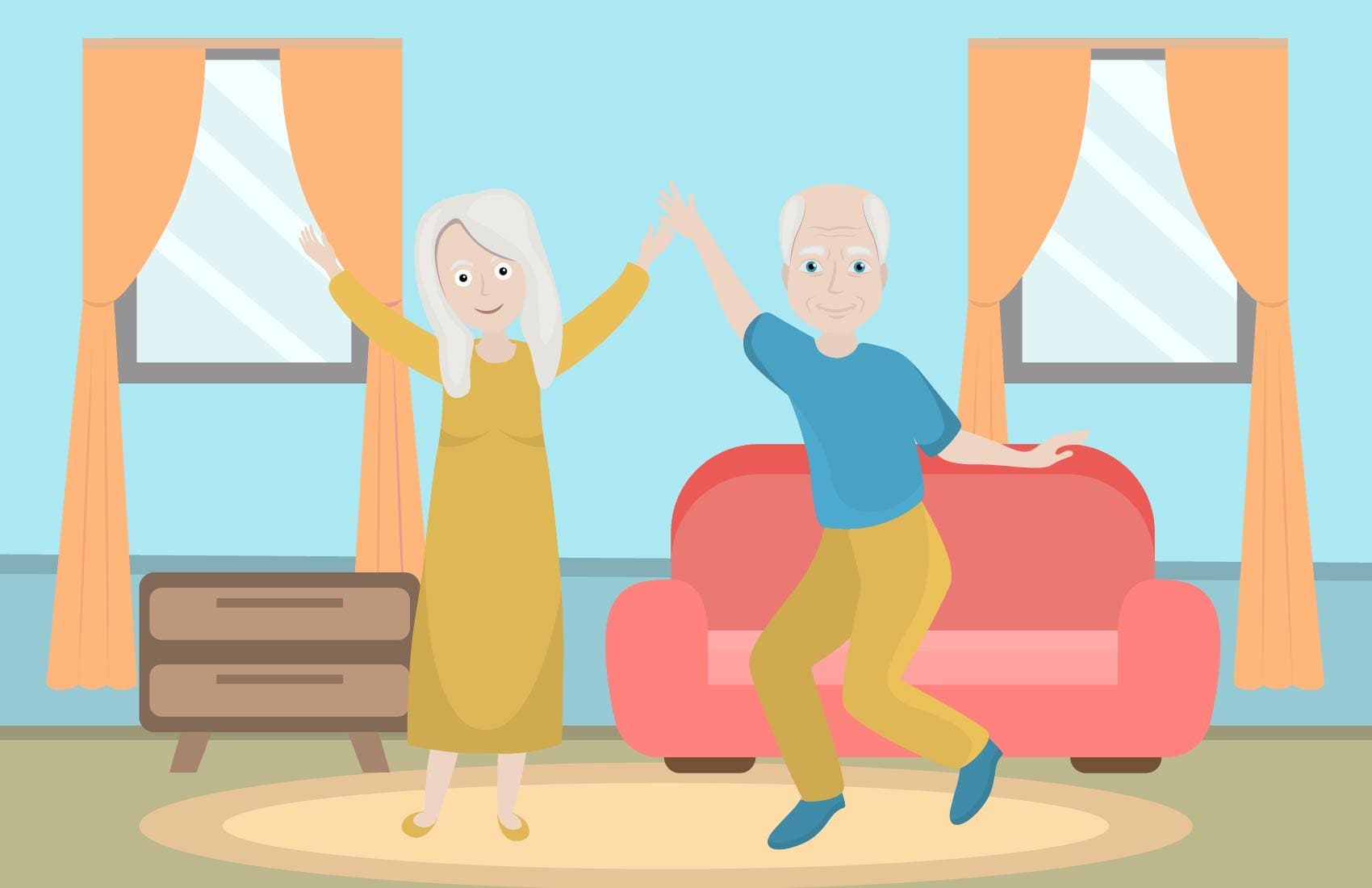 Senior man and woman dancing in an open room