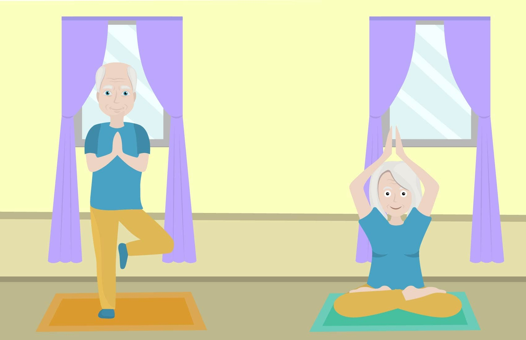 Senior man and woman performing simple yoga poses indoors