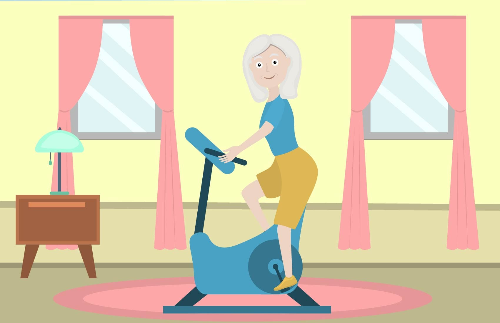 Senior woman on a spin bike at home