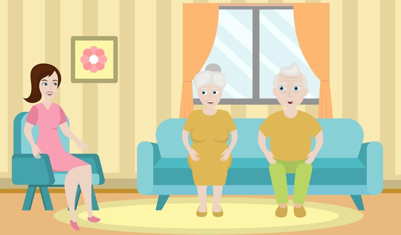 Adult daughter talking to senior parents
