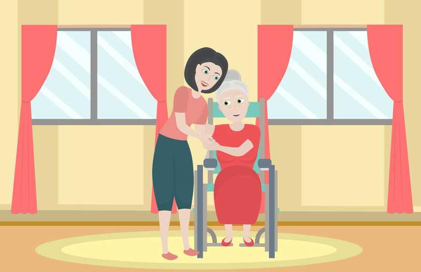 Daughter hugging elderly mother in wheelchair