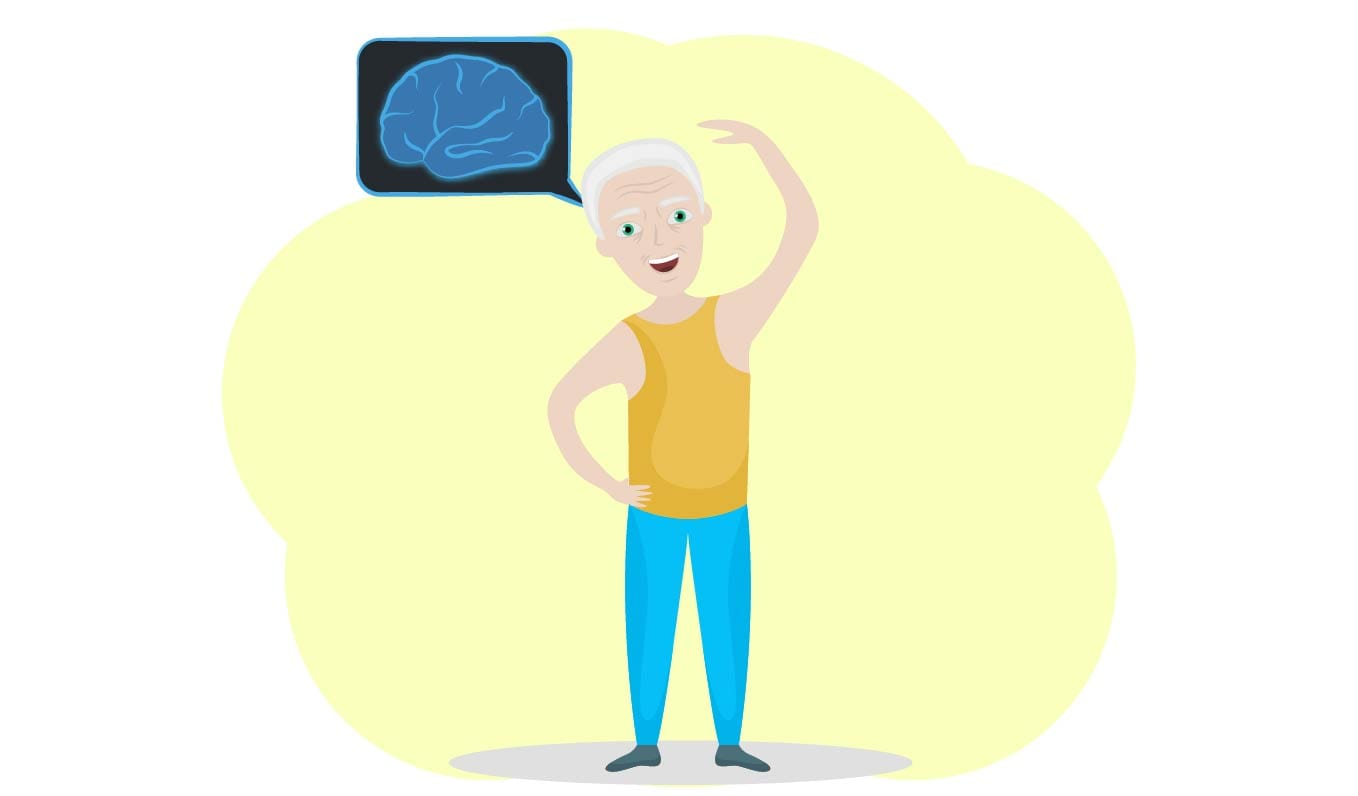 Elderly man smiling with a healthy brain