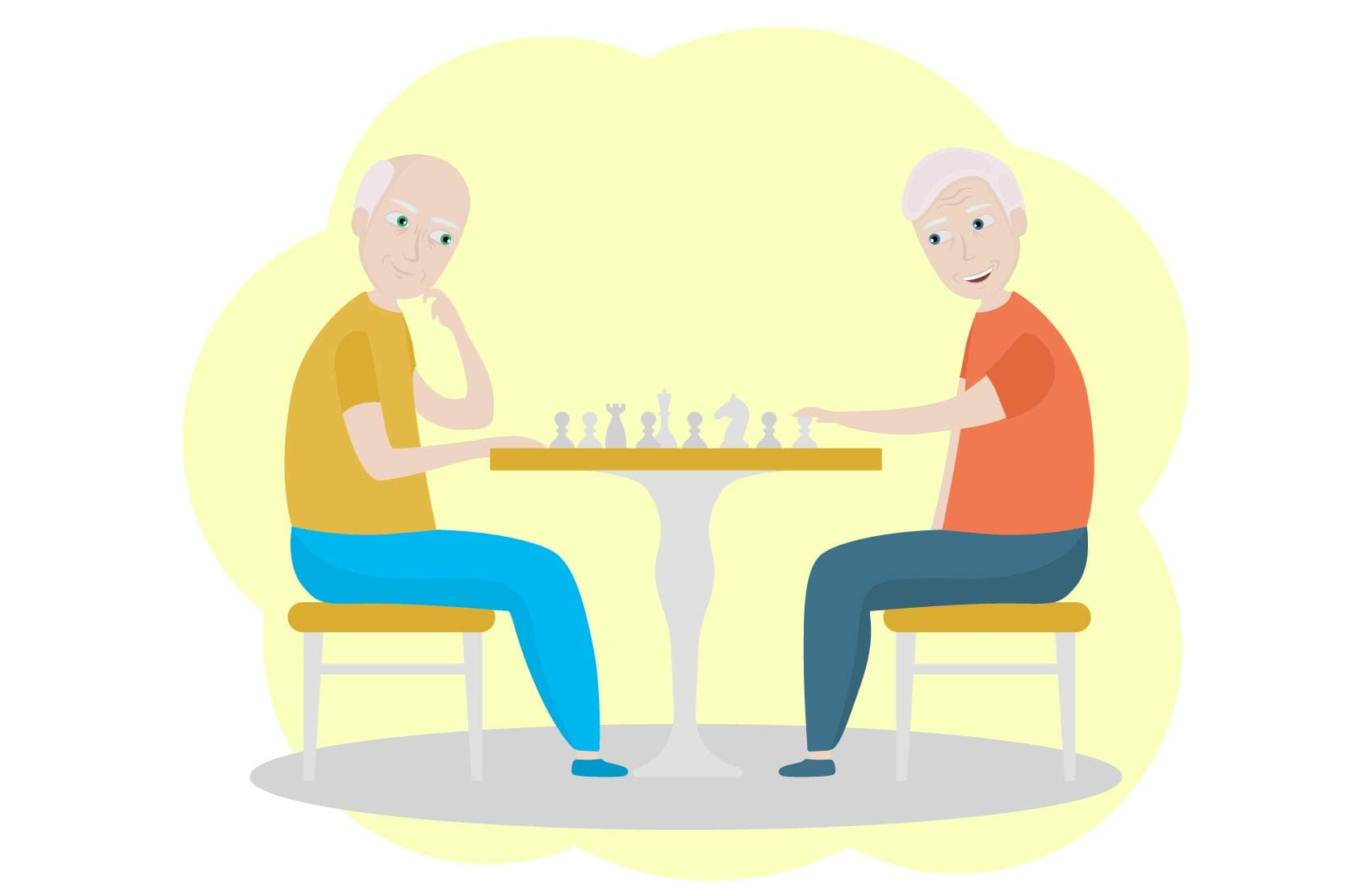 Elderly men playing a game of chess
