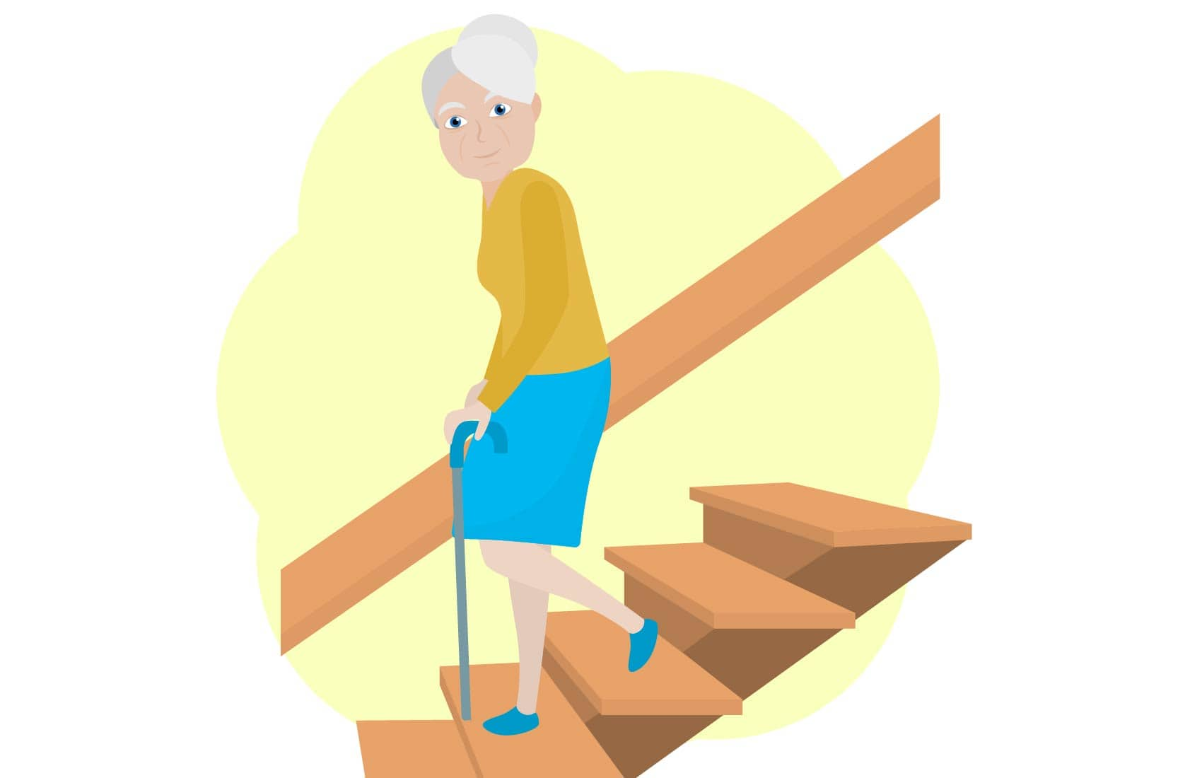 Elderly woman walking downstairs with cane for mobility