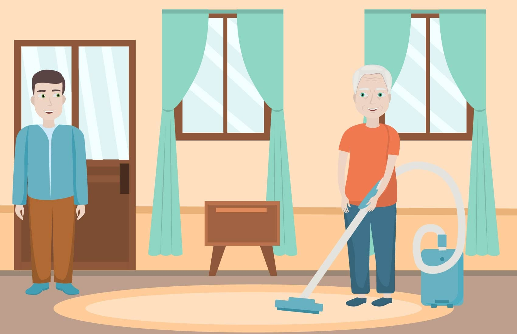 Elderly father vacuuming living room