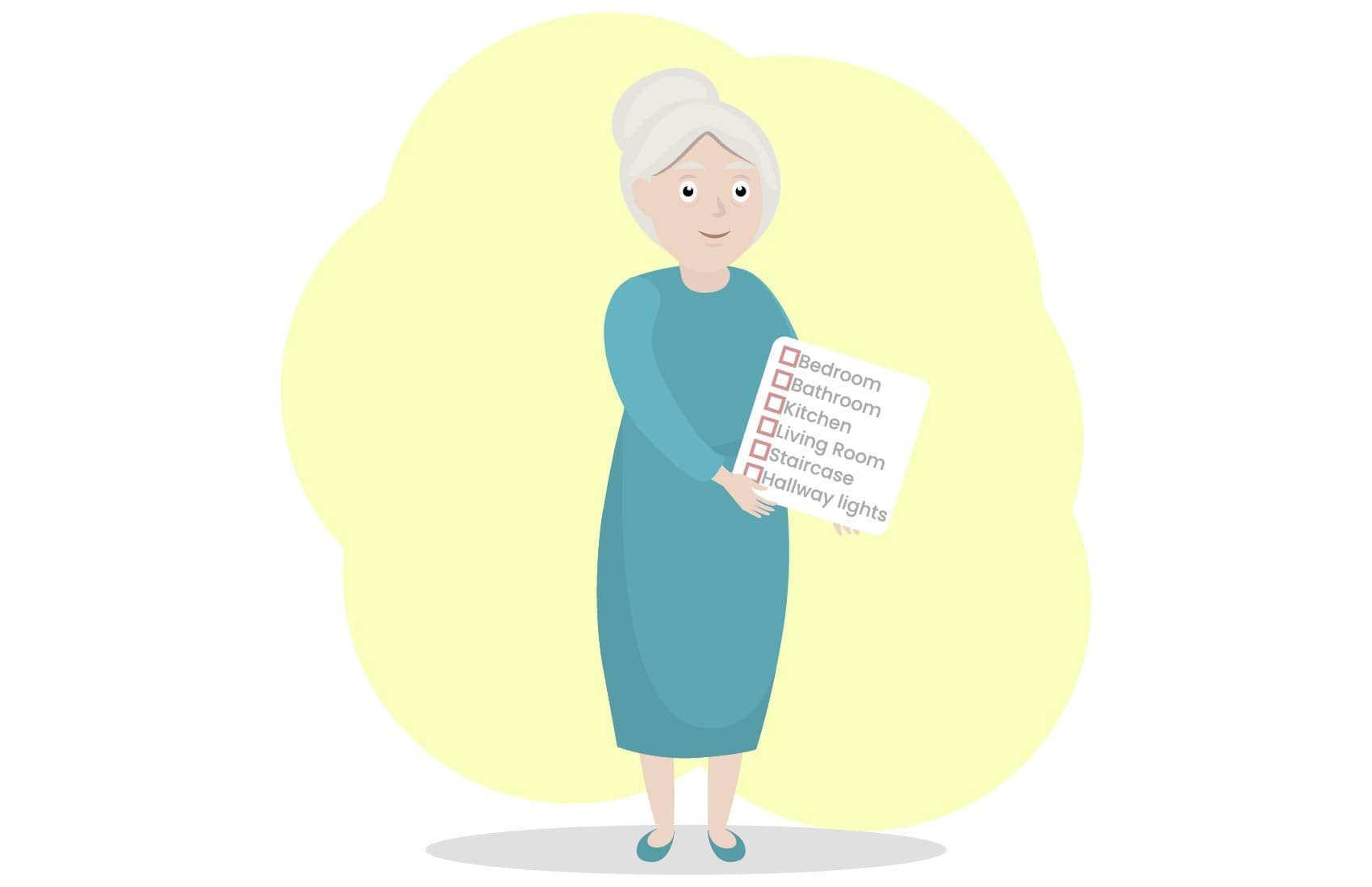 Elderly woman holding risk zone list