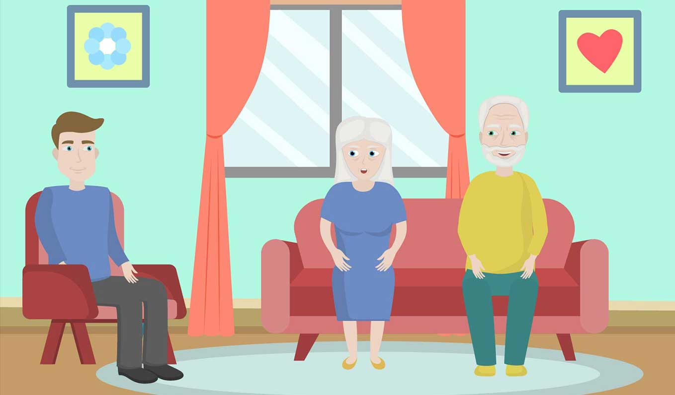 Son talking to elderly parents to understand them