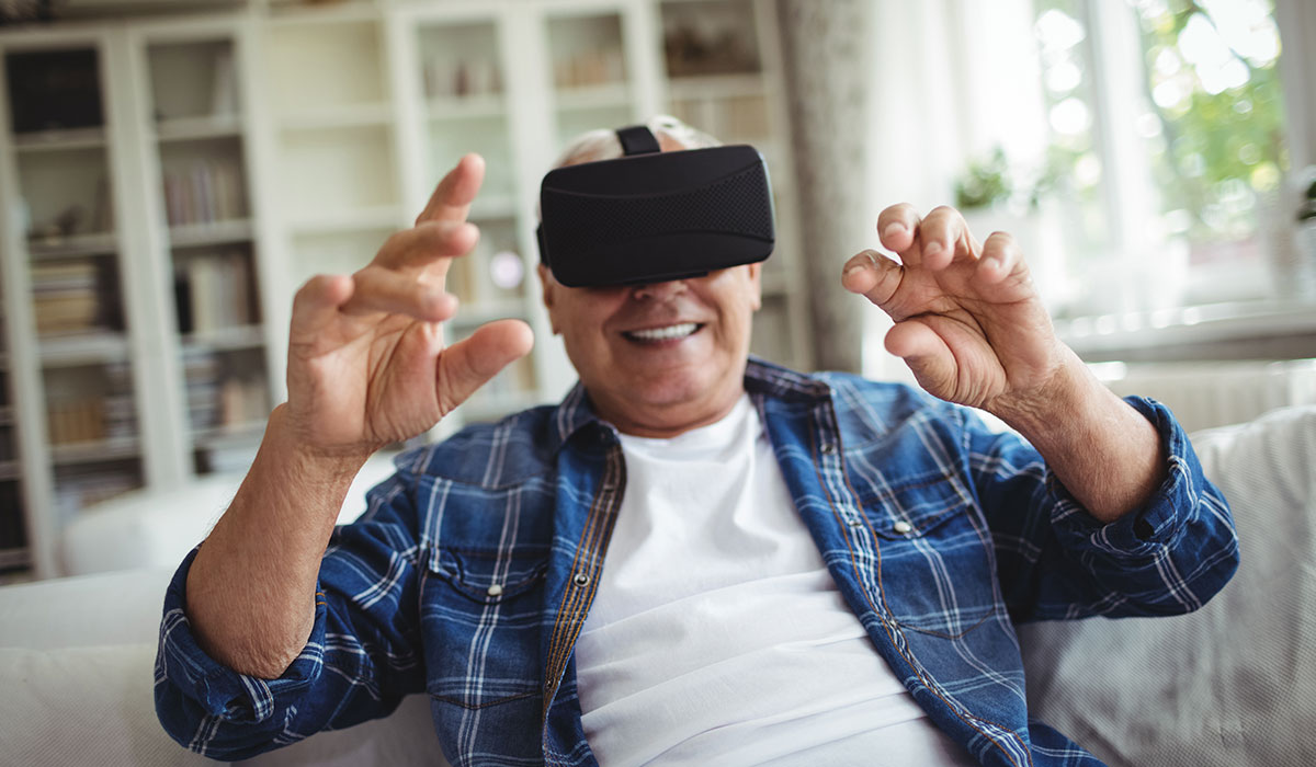 senior man vr headset