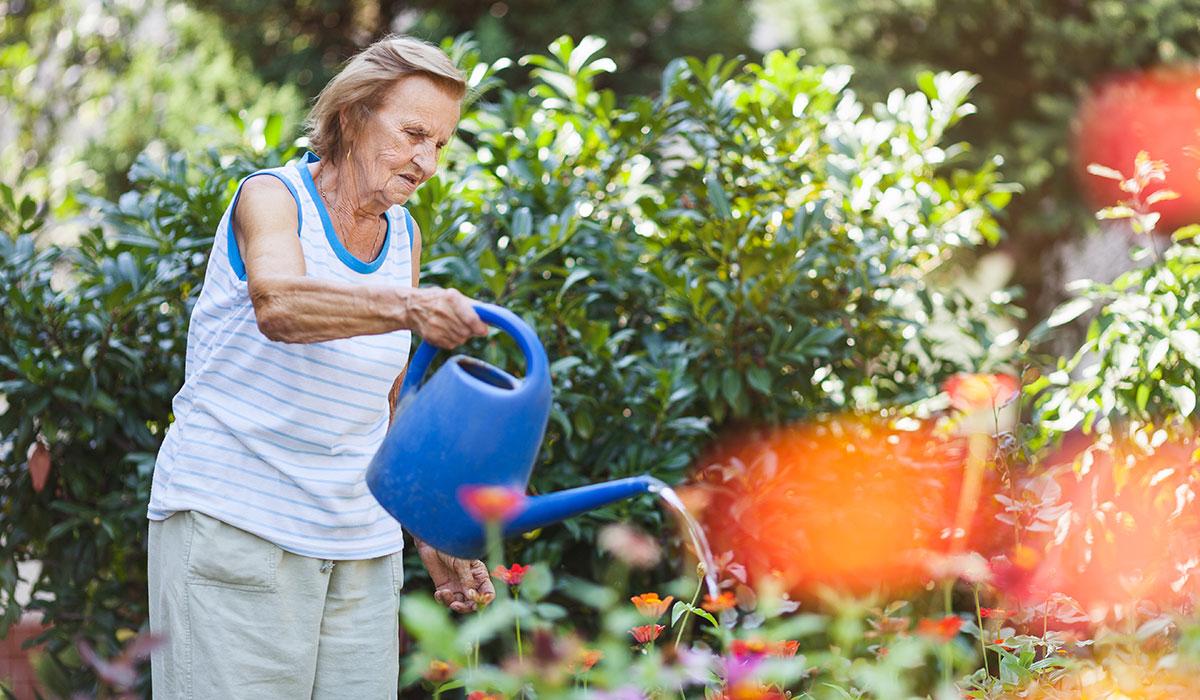 elderly woman watering garden